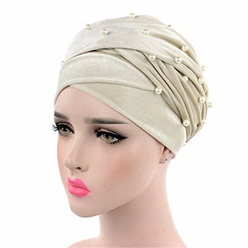 Sweater Beaded In Cut (Qhome Womens Luxury Beaded Pearled Velvet Long Head Wrap Turban Hijab Long Tube Head Scarf Tie)