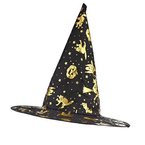 Lux Accessories Black and Goldtone Halloween Stars Witch Mesh Witch Hat - Child Size (Skeleton Hoodie Teen Costume)