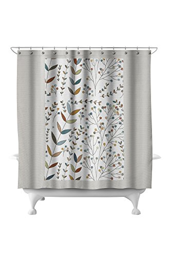 Abstract Flowers - Colorful Floral Pattern - Berries (71x74 Polyester Shower (Pottery Barn Floral Shower Curtain)