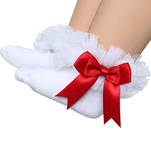 (GBSELL Baby Kids Girls Princess Bowknot Lace Ruffle Frilly Trim Ankle Socks )
