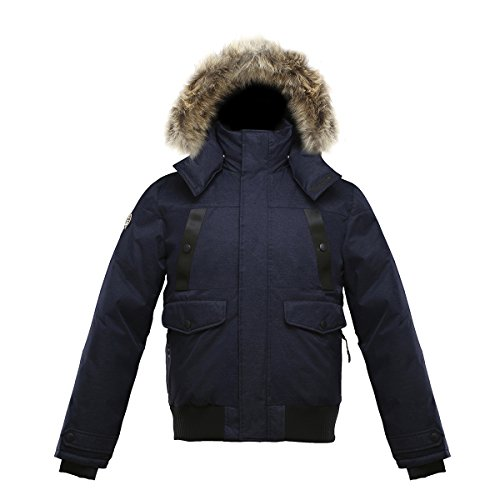 Triple F.A.T. Goose SAGA Collection | Norden Mens Hooded Goose Down Jacket Parka with Real Coyote Fur (X-Large, Navy) (Goose Jacket Hybridge Canada)