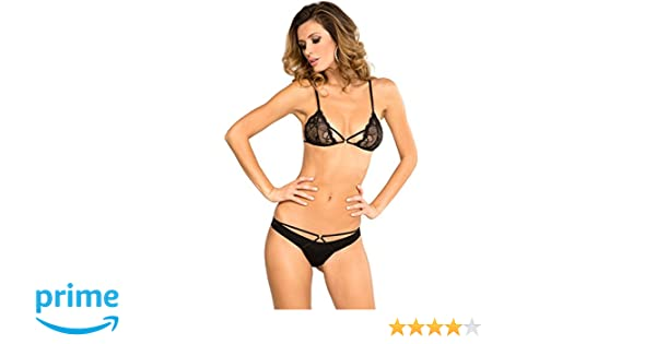 263d4d520ed Amazon.com: Rene Rofe Women Sexy Lingerie Strappy Provocative Lace Bra &  Cheeky Bikini Panty: Clothing