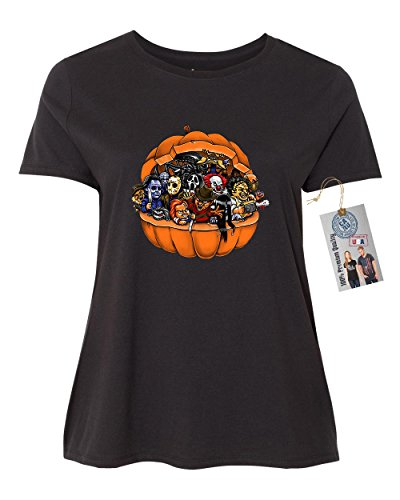 Scary Women Characters (Pumpkin Halloween Scary Characters Plus Size Womens Short Sleeve T-Shirt Black 4XL)