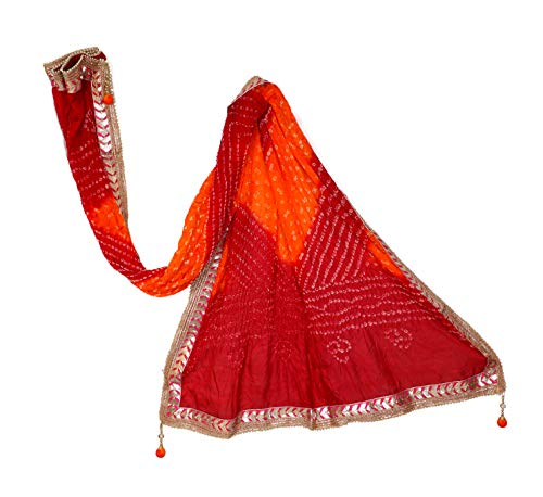 Hand Crafted Bandhani or Bandhej Art Silk Dupatta with Gotta Patti, Indian Fabric, Indian Dupatta, Soft Flowy Material, Fabriclore (Best Fabric For Dupatta)