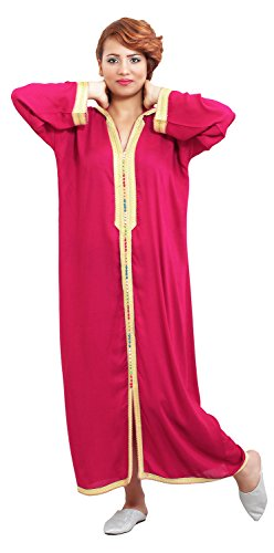 Moroccan Caftans Women Hand Made Breathable Hooded Caftan Fits Small To Medium Embroidered Magenta Hooded Caftan