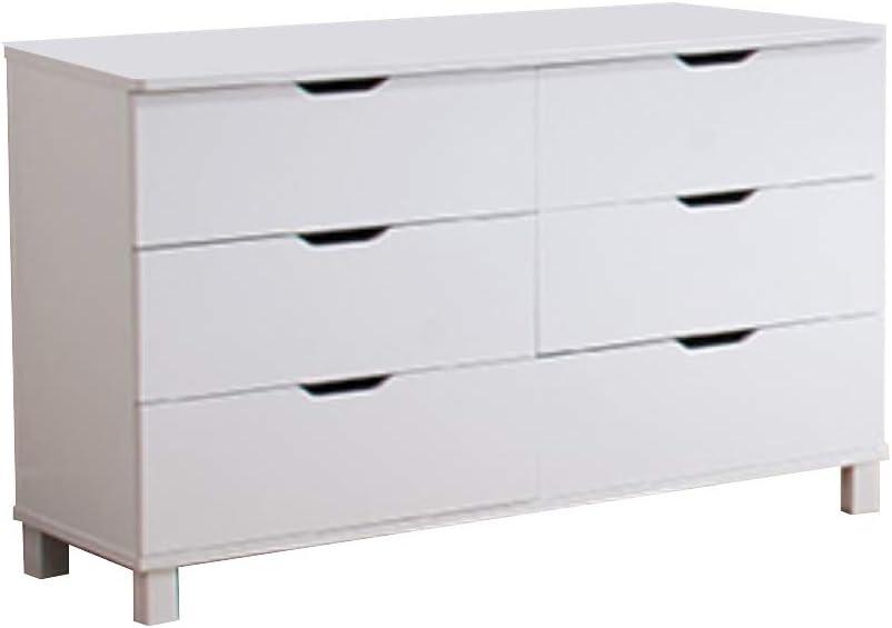 Benzara Spacious Glossy White Finish 6 Drawers Dresser,