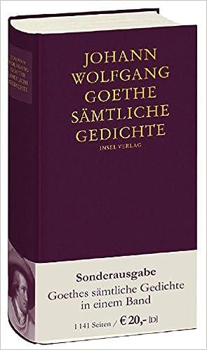 Sämtliche Gedichte Amazoncouk Johann Wolfgang Goethe
