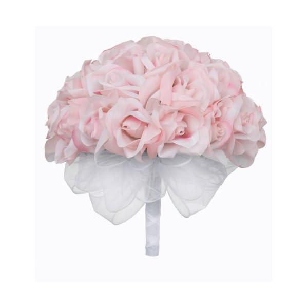 Pink Silk Rose Hand Tie (36 Roses) – Artificial Silk Bridal Wedding Bouquet