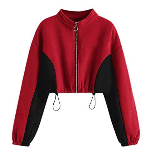 Women Short Sweatshirt,BeautyVan Women Autumn Crop Hoodie Zipper