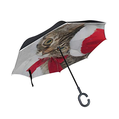 Rh Studio Inverted Umbrella Rain Sun Car Reversible Umbrella Cat Christmas Hat Face Snow Winter Large Double Layer Outdoor Upside Down Umbrella with Women with Uv Protection C-Shaped Handle ()