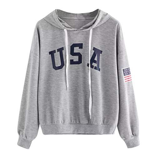 DEATU Womens Hoodies,Ladies Teen Girls Letter Flag Printed Sweatshirt Long Sleeve Pullover Tops Blouse Hoodies(Gray,XL)