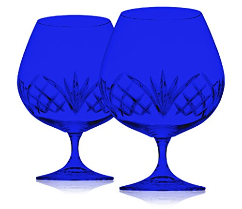 Dublin Reserve Brandy Set of Two Crystal Glasses - Full Color Cobalt Blue - Additional Vibrant Colors Available by TableTop King