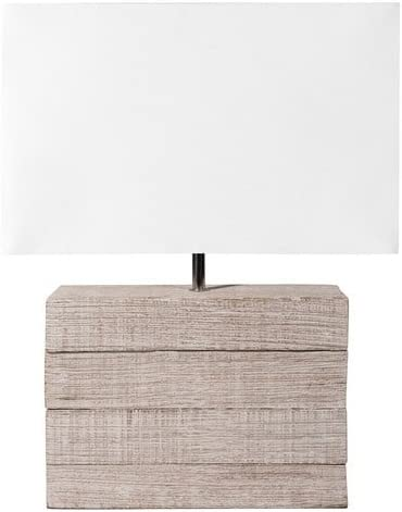 Lámpara de madera de mango y pantalla de tela de H 32 cm Lagon ...