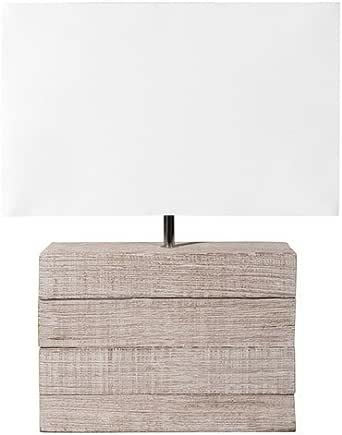 Lámpara de madera de mango y pantalla de tela de H 32 cm Lagon: Amazon.es: Iluminación