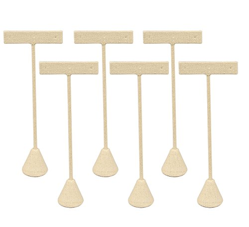 """6-Pack Linen Earring T Stand Display T Shape Showroom and Tradeshow (Linen (4.75""""H))"""