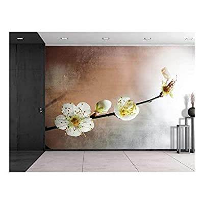 Cherry Blossom Branch Over a Copper and Silver Background Wall Mural, That You Will Love, Stunning Design