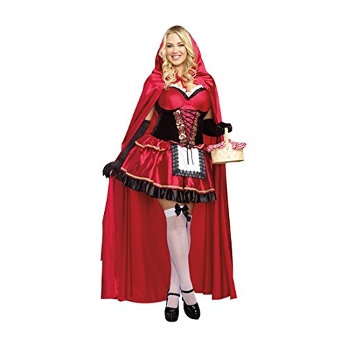 Little Red Riding Hood Costumes Halloween (Dreamgirl Women's Plus-Size Little Red Riding Hood Costume, 1X/2X,)