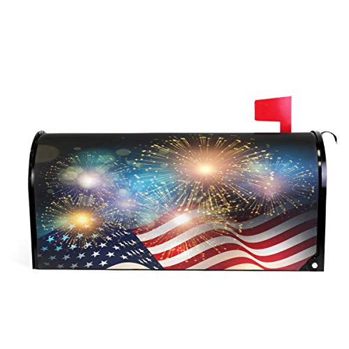 (Wamika American Flag Patriotic USA Magnetic Mailbox Cover MailWraps, 4Th of July Memorial Day Firework Star Mailbox Wraps Post Box Garden Yard Home Decor for Outside Standard Size 20.8