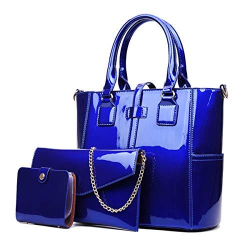 - Yan Show Women's New Zipper Bag 3PCS Handbags Patent Leather Fashion Shoulder Bag Large Capacity Handbag, Blue