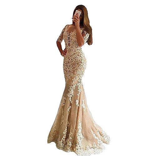 XPLE Mermaid Scoop Neck Half Sleeve Lace Appliques Open Back Champagne Long Evening Dress D30 ()