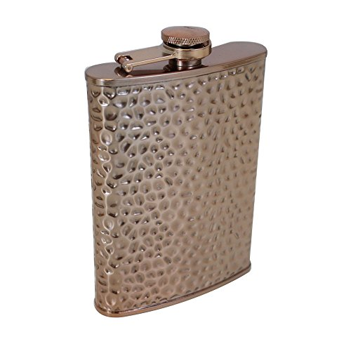 Hammered Design Hip Flask - TMD Holdings FBA_SPLT266 8 oz. Copper Hammered Flask, Bronze