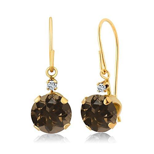 1.64 Ct Round Brown Smoky Quartz White Topaz 14K Yellow Gold Earrings