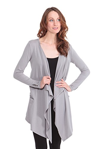 Women's Long Sleeve Draped Cardigan - Stylish Apparel by Texere (Caireen, Light Gray, Small) Great Gifts for Women's Birthday WB1002-LGR-S