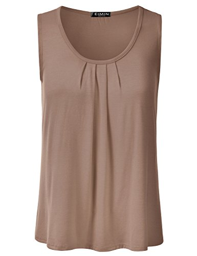 EIMIN Women's Pleated Scoop Neck Sleeveless Stretch Basic Soft Tank Top Mocha ()