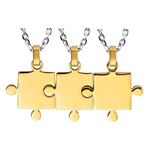 Kebaner Best Friends Forever Set of 3 Piece Sister Necklaces Puzzle Matching BFF Friendship Pendants Gift (Best Friends Forever Necklace 3 Piece)
