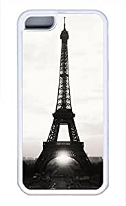 taoyix diy iPhone 5c case, Cute Eiffel Tower White And Black iPhone 5c Cover, iPhone 5c Cases, Soft Whtie iPhone 5c Covers