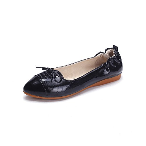 WeiPoot Womens Patent Leather Solid Pull On Round Closed Toe No-Heel Flats-Shoes Black Ak4eEN