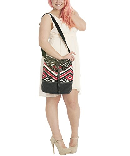 Sunsa Damen Tasche Umhängetasche Schultertasche Beuteltasche aus gewebtem Jacquard 37x35x15 cm