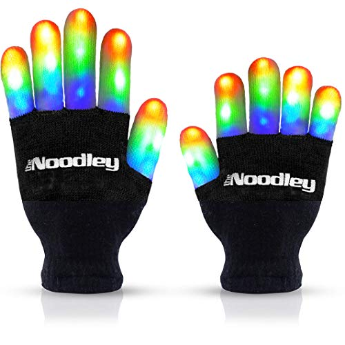 Popular Halloween Costumes 2019 Ideas (The Noodley Flashing LED Gloves Cool Fun Toys & Gift - Kid Sized - with Extra Batteries (Black,)