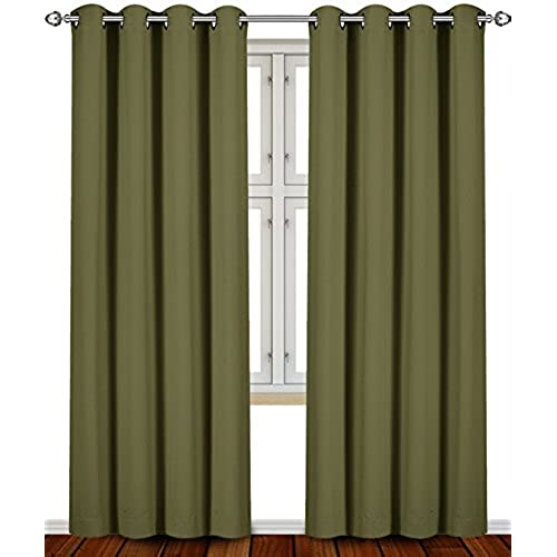 green curtains for living room. Blackout  Room Darkening Curtains Window Panel Drapes Olive Color 2 Set 52 inch wide by 84 long each panel Utopia Bedding Green For Living Amazon com