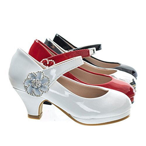 - Link FQ17 Girl's Flower Rhinestone Wrapped Kitten Heel Platform Mary Jane, Color White Patent, Size:13 M US Little Kid