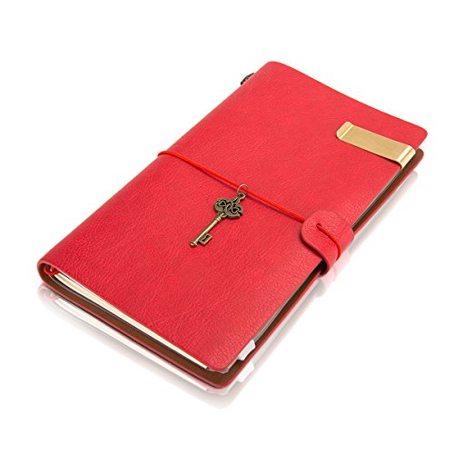 Traveler Notebook Vintage Leather PU Rotro Creative Journal Refill Notebooks with Zipper Pocket Fountain Pen Users,Diary,Handmade Personalized Traveler's Writing Notebook-Dark - Ship Canada Usps Does To