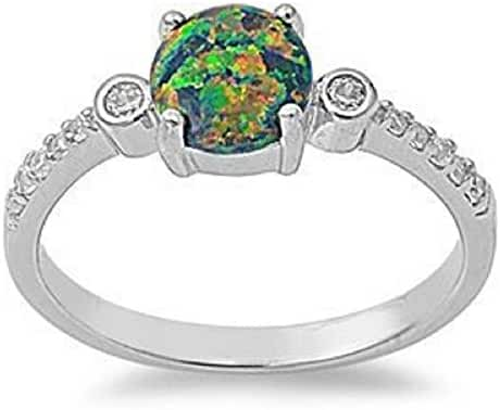 Sterling Silver OCTOBER BLACK MYSTIC FIRE LAB CREATED OPAL ROUND & CZ Ring 5-11