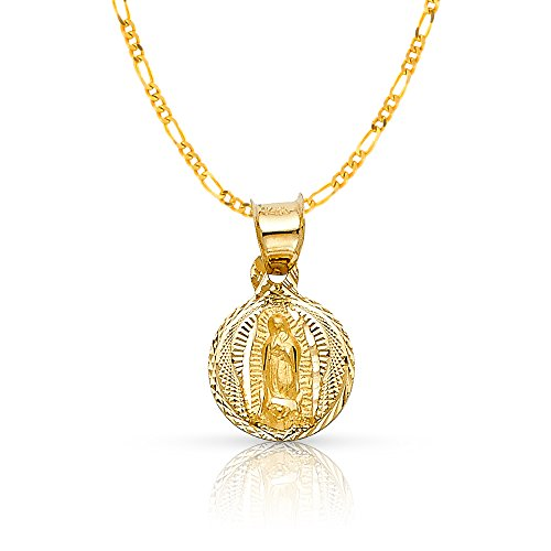 14K Yellow Gold Diamond Cut Our Lady of Guadalupe Stamp Charm Pendant with 1.2mm Figaro 3+1 Chain Necklace - 22