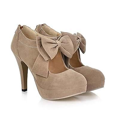 Fashion Vintage Womens Small Bowtie Platform Pumps Ladies Sexy High Heeled Shoes, Apricot, 4 B(M) US