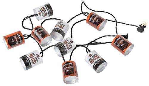 HARLEY-DAVIDSON Oil Can String Party Lights - 10 ft. Orange & White HDL-10018 (Gnome Lights String)