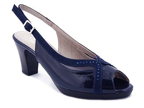 CINZIA SOFT Sandalo elegante in ecopelle lucida blu, tacco 7cm. e plateau 1cm., 311875 E17