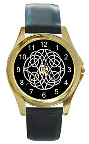 Celtic Design on Black Background on a Gold Tone Watch with Leather Band- 10-15 Days ()