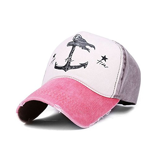 King Star Vintage Style Pirate Ship Anchor Printing Multicolor Adjustable Baseball Cap Pink ()