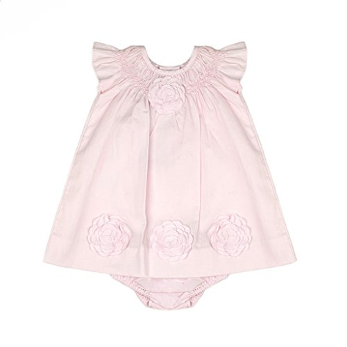 Carriage Boutique Baby Girl Classic Pink Dress - Cut Out Flowers, 12M