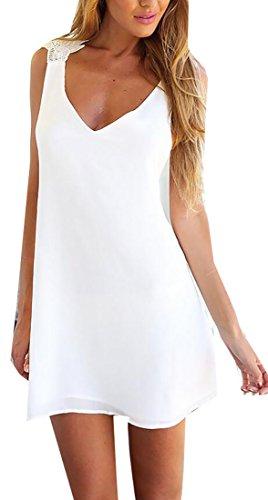Delle Jaycargogo Del Bianca Indietro Vestito Donne Casuale Mini Collo Spiaggia V Croce 5rrBw6qI