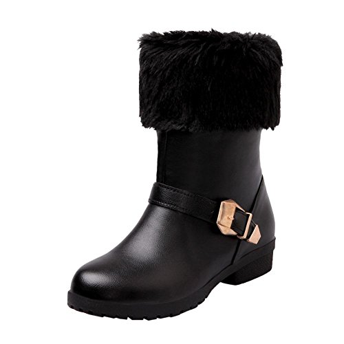 d57b18caf05a Mee Shoes Damen Niedrig chunky heels runde warm gefüttert Stiefel Schwarz