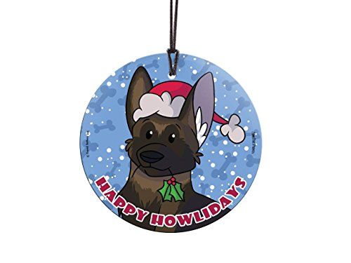 Sable Christmas Ornaments (Happy Howlidays (German Shepherd - Sable) StarFire Prints Glass Dog Ornament - Christmas Tree Decoration)