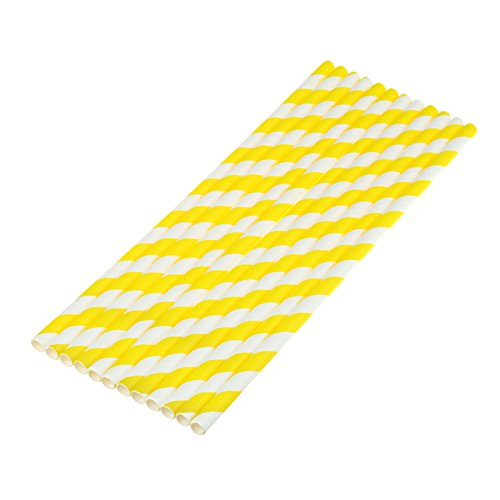 - vLoveLife 25pcs Yellow & White Biodegradable Paper Straws Striped Drinking Straws for Valentine's Day Wedding Birthday Party Celebrations Baby Shower Drinking Decoration Favors Supplies