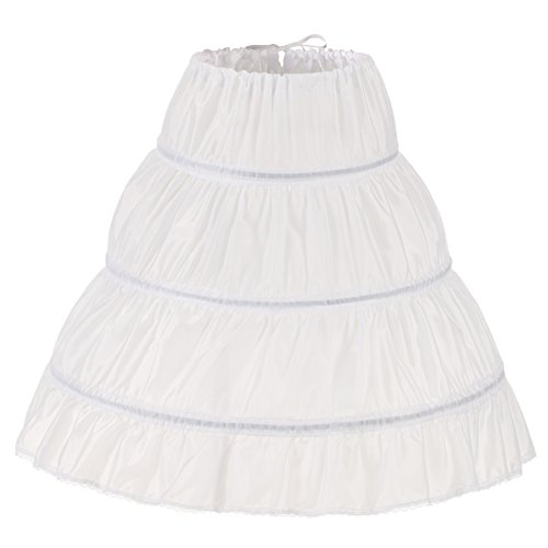 WOWBRIDAL Girls' 3 Hoops Petticoat Full Slip Flower Girl Crinoline Skirt,White,Small