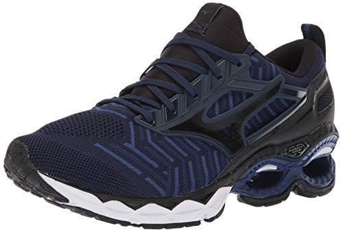 Mizuno Men's Wave Creation 20 Knit Running Shoe, Dress Blue-Black 13 D US